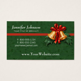 Christmas Bells and Holly Leaves Green Business Card
