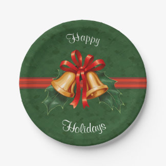 Christmas Bells and Holly Leaves Green Paper Plate