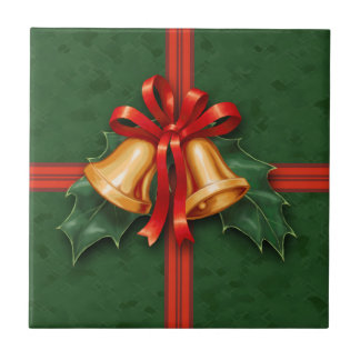 Christmas Bells and Holly Leaves Green Tile
