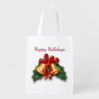 Christmas Bells and Holly Leaves Grocery Bag