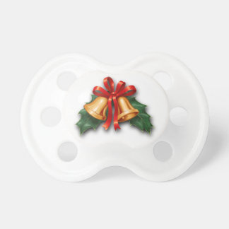 Christmas Bells and Holly Leaves Pacifier