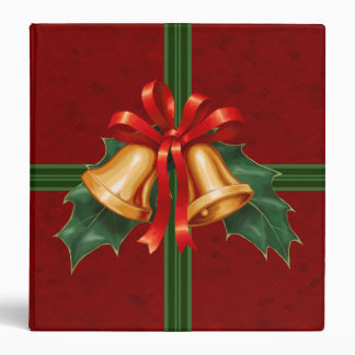 Christmas Bells and Holly Leaves Red 3 Ring Binder