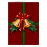 Christmas Bells and Holly Leaves Red Card