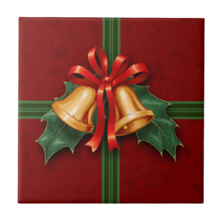 Christmas Bells and Holly Leaves Red Tile