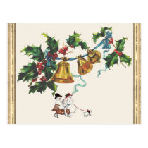 Christmas Bells And Holly Postcard