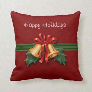 Christmas Bells and Holly Red Throw Pillow