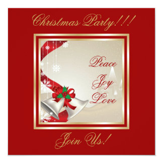Christmas Bells And Red Ribbons Party  Invitation