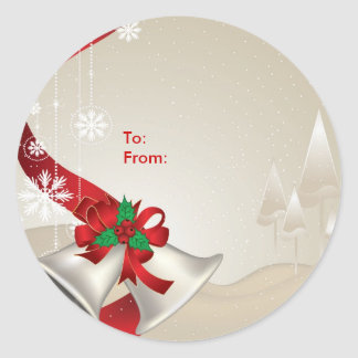 Christmas Bells and Ribbons On Beige -Gift Tags Round Stickers