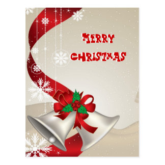 Christmas Bells And Ribbons Postcard