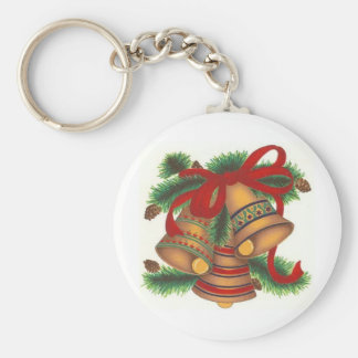 Christmas Bells Basic Round Button Keychain