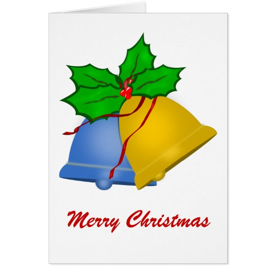 Christmas Bells - Blue and Gold, Merry Christmas Card