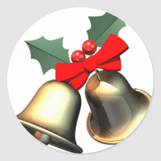Christmas Bells Classic Round Sticker