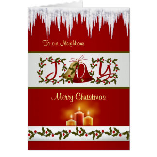 Christmas bells holly and candles Neighbour Card