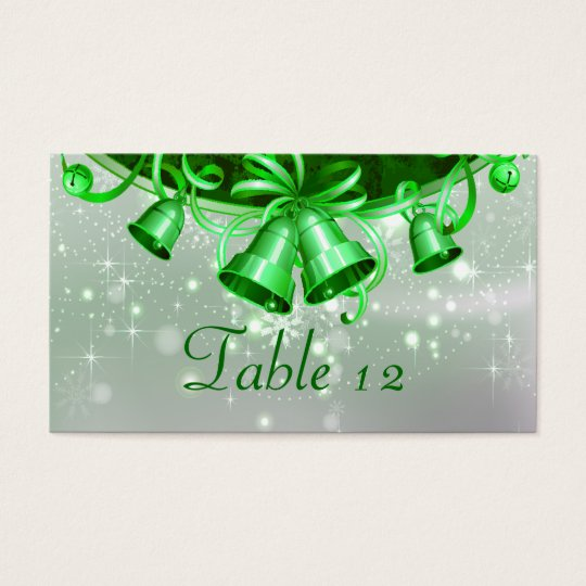 Christmas Bells In Green & Silver Business Card