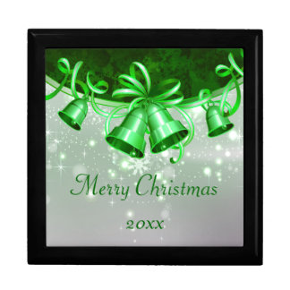 Christmas Bells In Green & Silver Keepsake Box