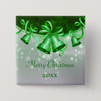 Christmas Bells In Green & Silver Pinback Button
