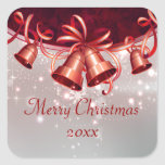 Christmas Bells In Red & Silver Square Sticker