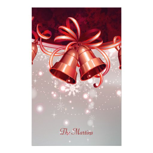 Christmas Bells In Red & Silver Customized Stationery