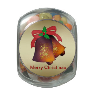 Christmas Bells on Gold Customizable Glass Candy Jar