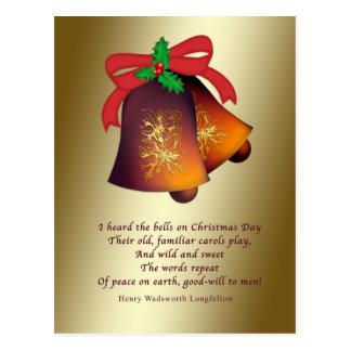 Christmas Bells on Gold Postcard