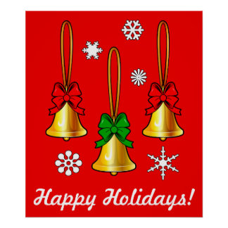Christmas Bells with Bows on Red Poster