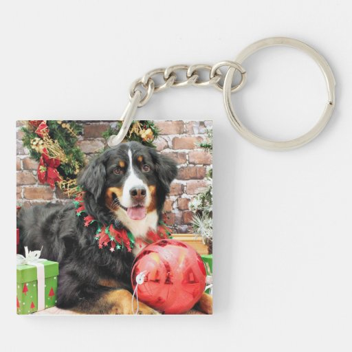 Christmas - Bernese Mountain Dog - Chloe Double-Sided Square Acrylic Keychain
