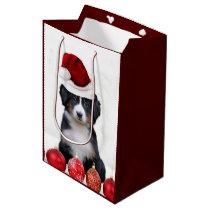 Christmas Bernese Mountain dog Medium Gift Bag