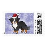 Christmas Bernese Mountain Dog Postage Stamp