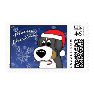 Christmas Bernese Mountain Dog Postage Stamps