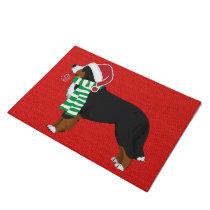 Christmas Bernese Mountain Dog Red Burlap Doormat