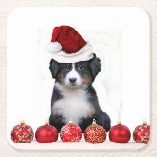 Christmas Bernese Mountain Dog Square Paper Coaster