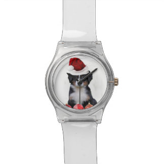 Christmas Bernese Mountain Dog Wristwatches