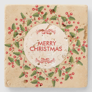 Christmas Berries And Evergreen Wreath Stone Coaster