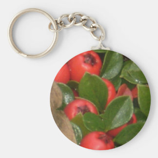 Christmas  Berries Basic Round Button Keychain