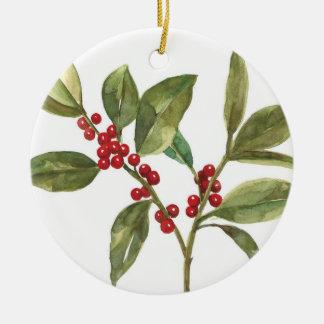 christmas berries ceramic ornament