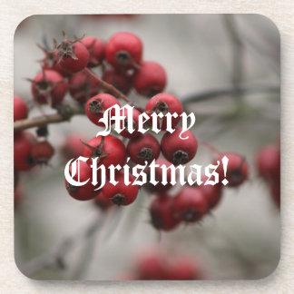 Christmas berries Cork Coaster