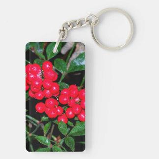 Christmas Berries Double-Sided Rectangular Acrylic Keychain