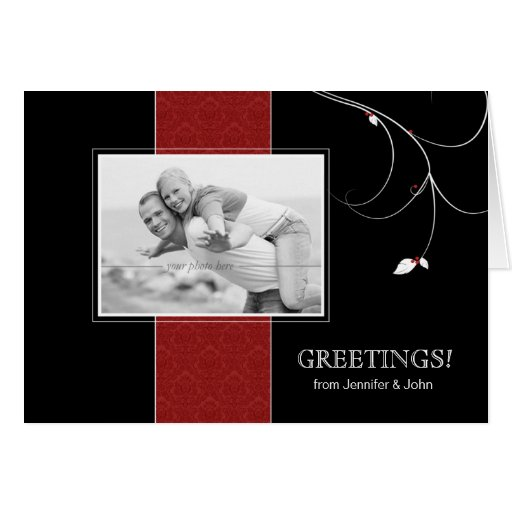 Christmas Berries Greeting Card Black Red Damask