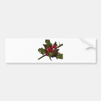 Christmas: Berries, Holly, Pine Cones: Art Bumper Sticker