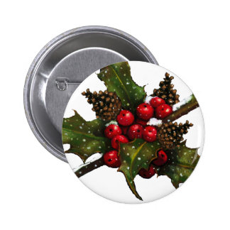 Christmas: Berries, Holly, Pine Cones: Art Button