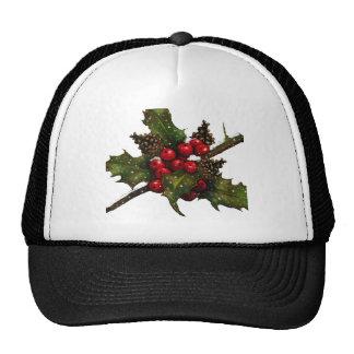 Christmas Berries Holly Pine Cones Art Mesh Hat