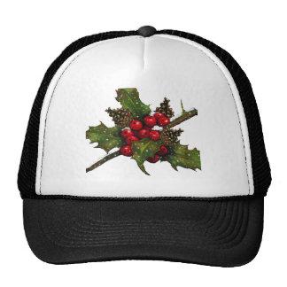 Christmas Berries Holly Pine Cones Art Mesh Hats