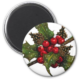 Christmas: Berries, Holly, Pine Cones: Art Fridge Magnet