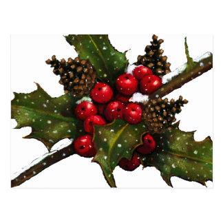 Christmas: Berries, Holly, Pine Cones: Art Postcard
