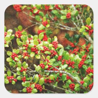 Christmas Berries Square Sticker