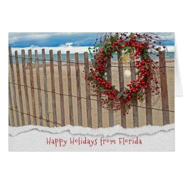 Christmas berry beach wreath on fence card