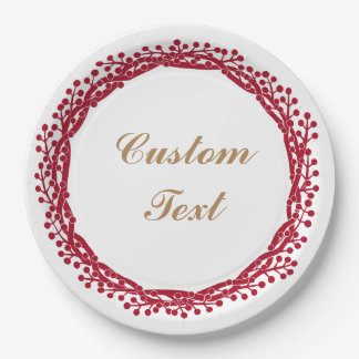 Christmas berry wreath custom paper plate 9 inch paper plate