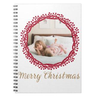 Christmas berry wreath custom photo notebook