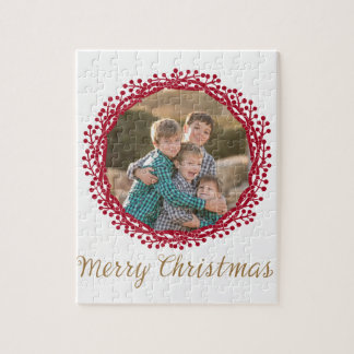 Christmas berry wreath custom photo puzzle
