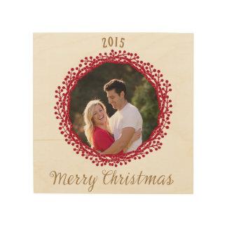 Christmas berry wreath photo wooden art